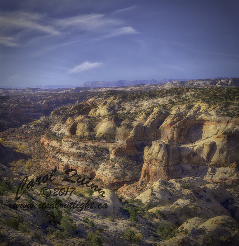 Escalante Staircase and clouds, by Carol Quinn. IDs _1CQ6514 and _1CQ5228-31 rev 1g
