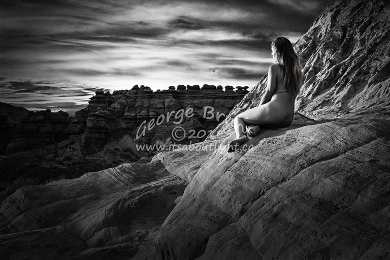 Ashley watching sunrise. Taken near Hanksville, Utah by George Brunt. ID _1GB4131 rev 2h