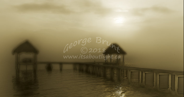 Dock in the haze, by George Brunt. ID 2CQ1466 rev 1b