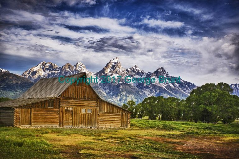 Barn Early Morning (Mormon Row), Grand Teton in Background. By George Brunt. ID 8GB9717-19